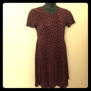 Dress Barn Womens Crinkly Blacn and Red Dress